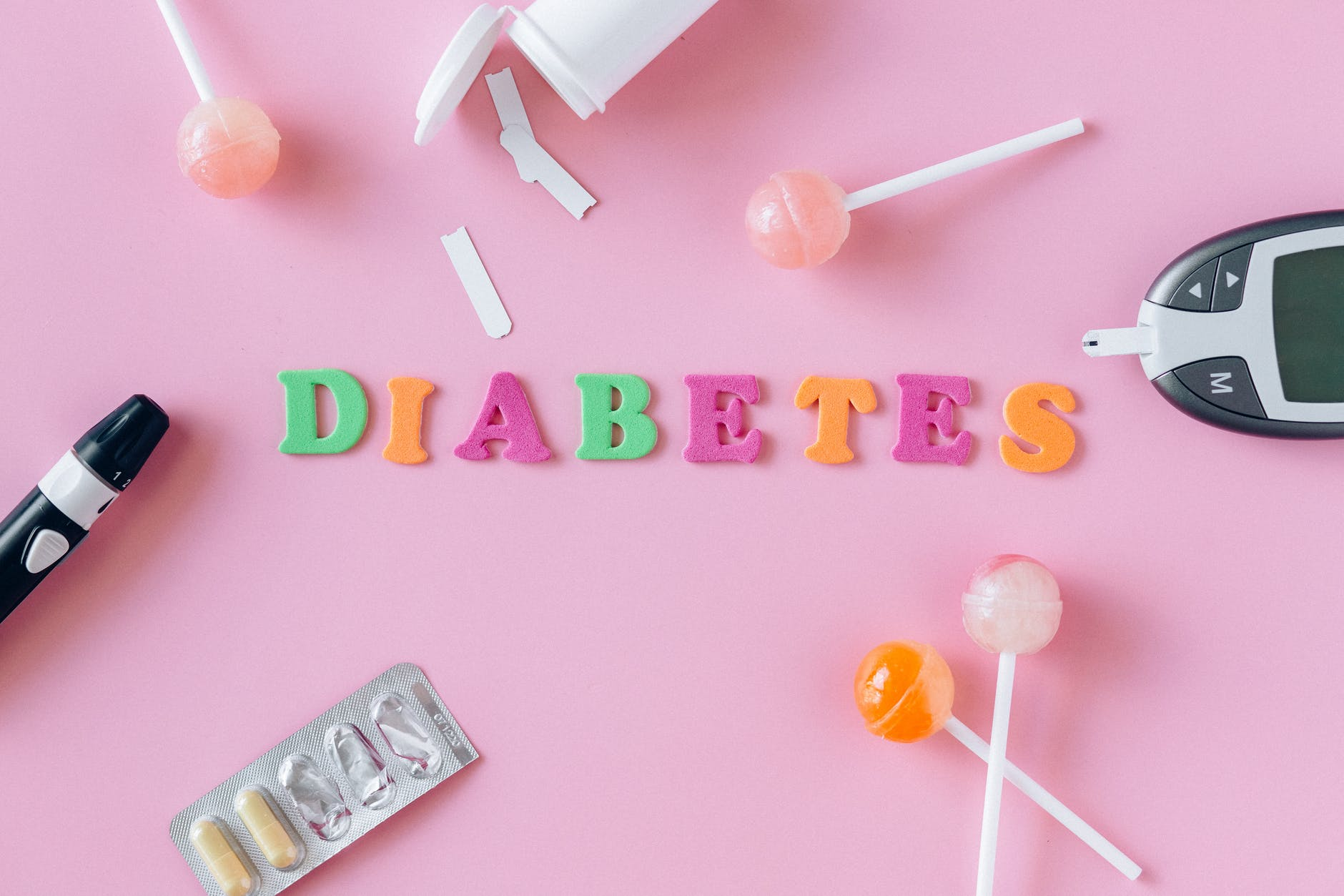 A Picture with diabetes written on a postcard, on the postcard is a glucometer.